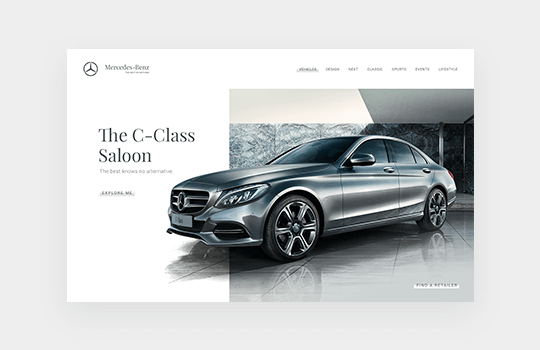 Finsweet Mercedes Benz website design branding feature for web design