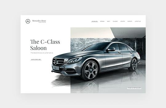 Finsweet Mercedes Benz website design branding feature for web design