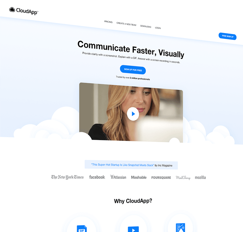 CloudApp application finsweet website redesign