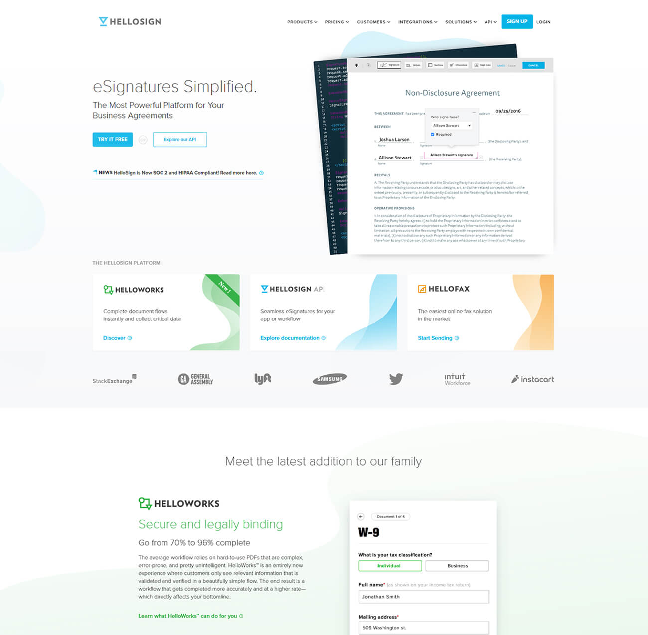 Finsweet HelloSign website branding feature for web design