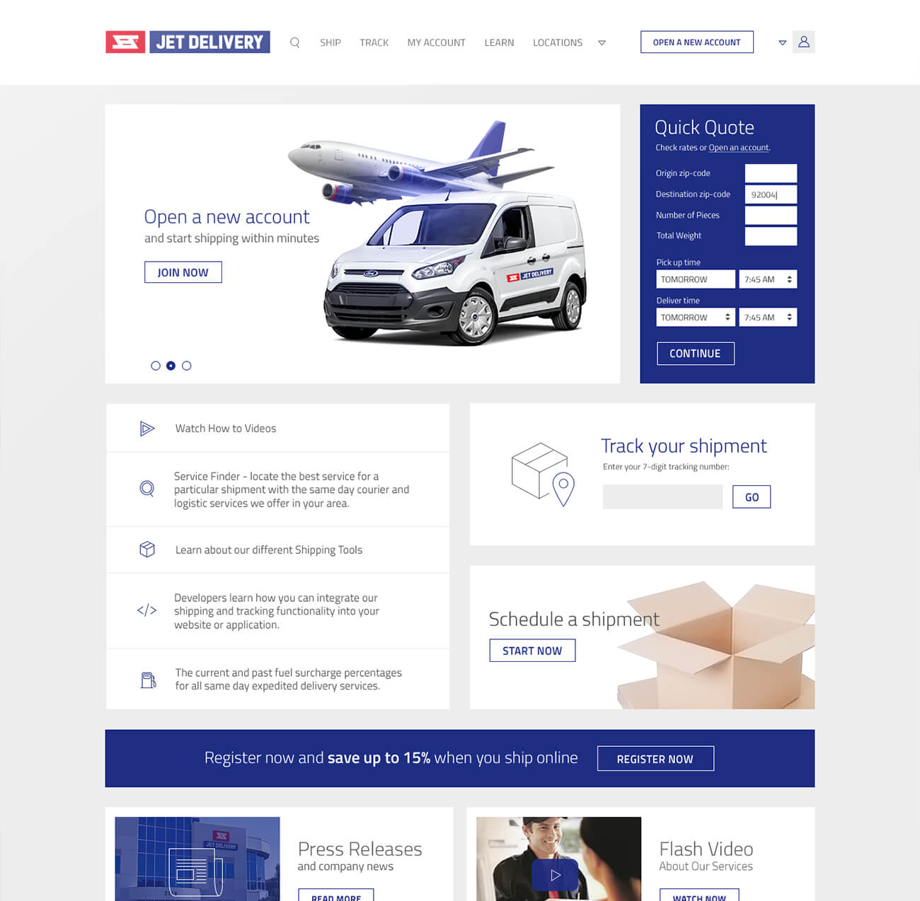 Finsweet Jet Delivery website branding feature for web design