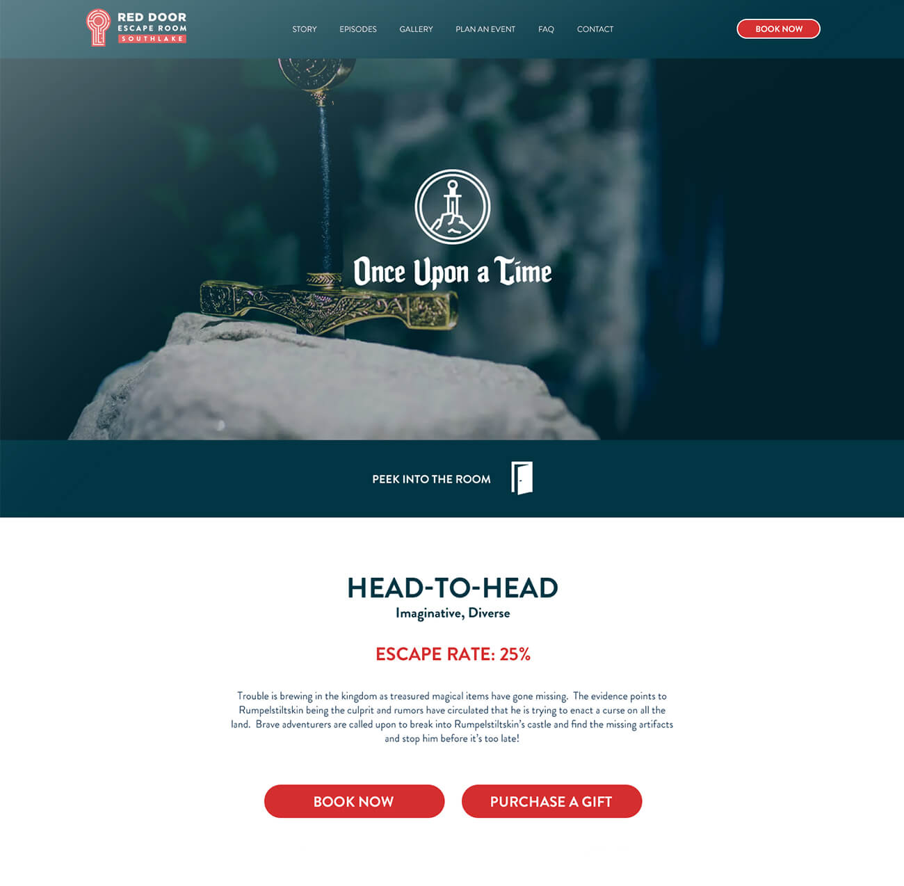 Finsweet Red Door Escape Room website branding feature for web design