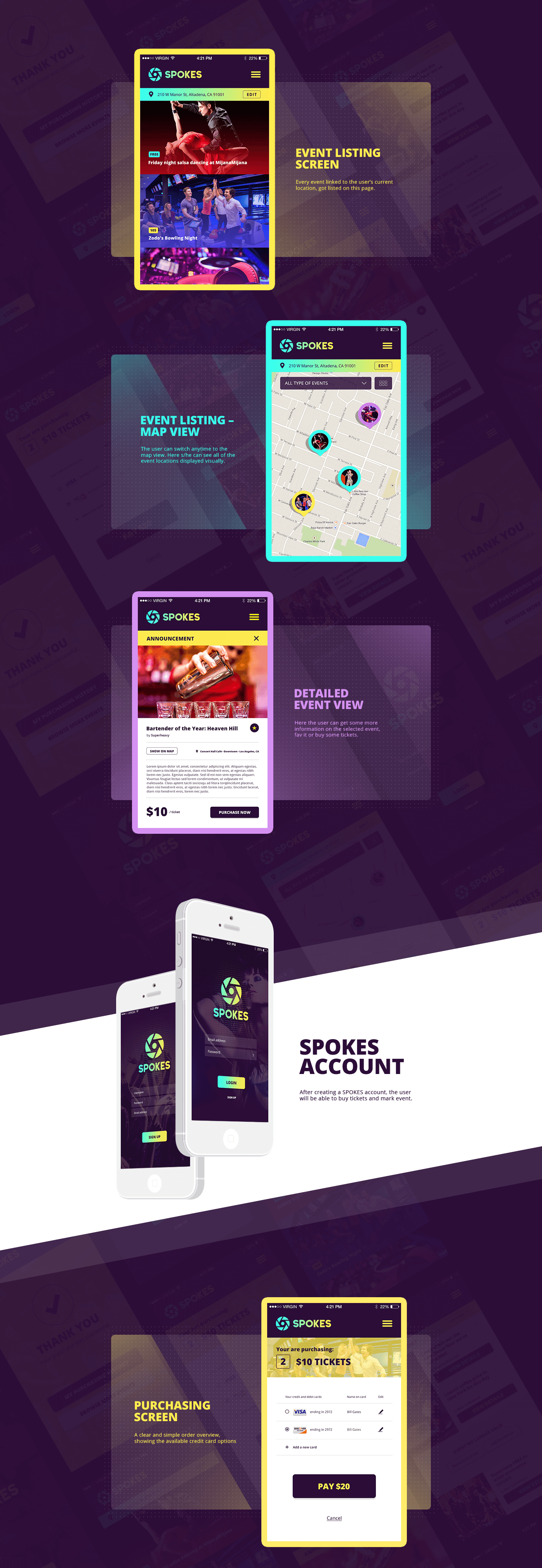 Spokes mobile app design and branding by Finsweet