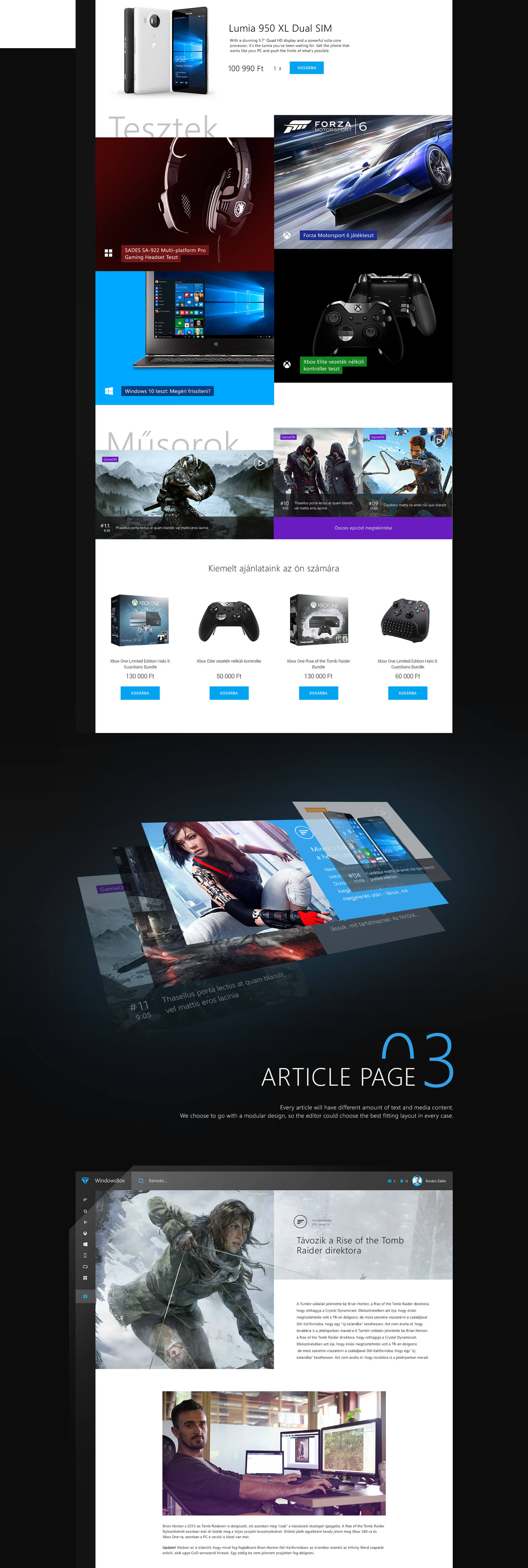 Windows box website rebrand design feature by Finsweet