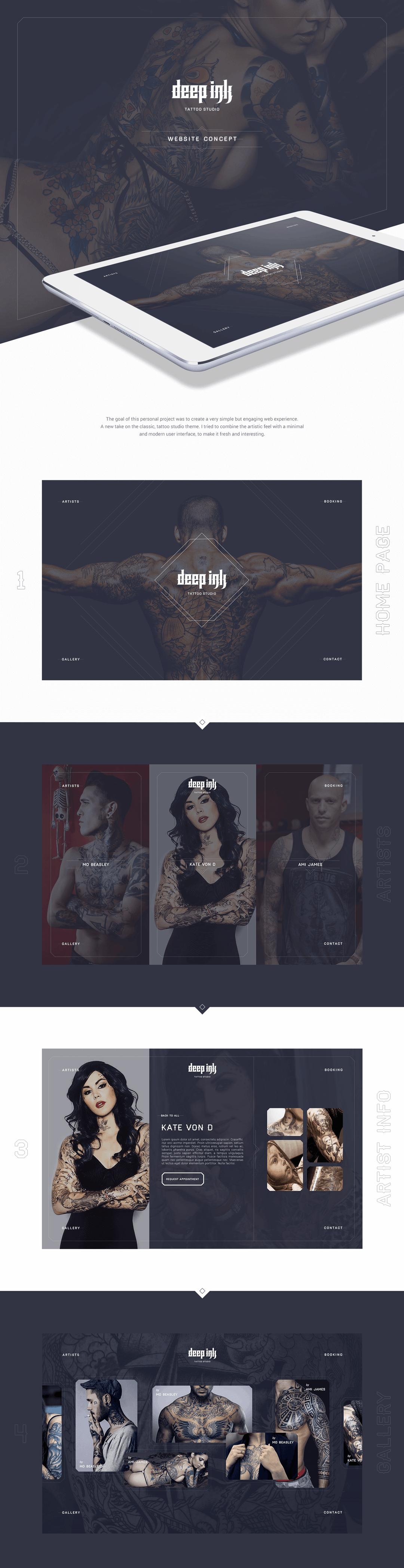 Deep Ink tattoo branding design and website by Finsweet