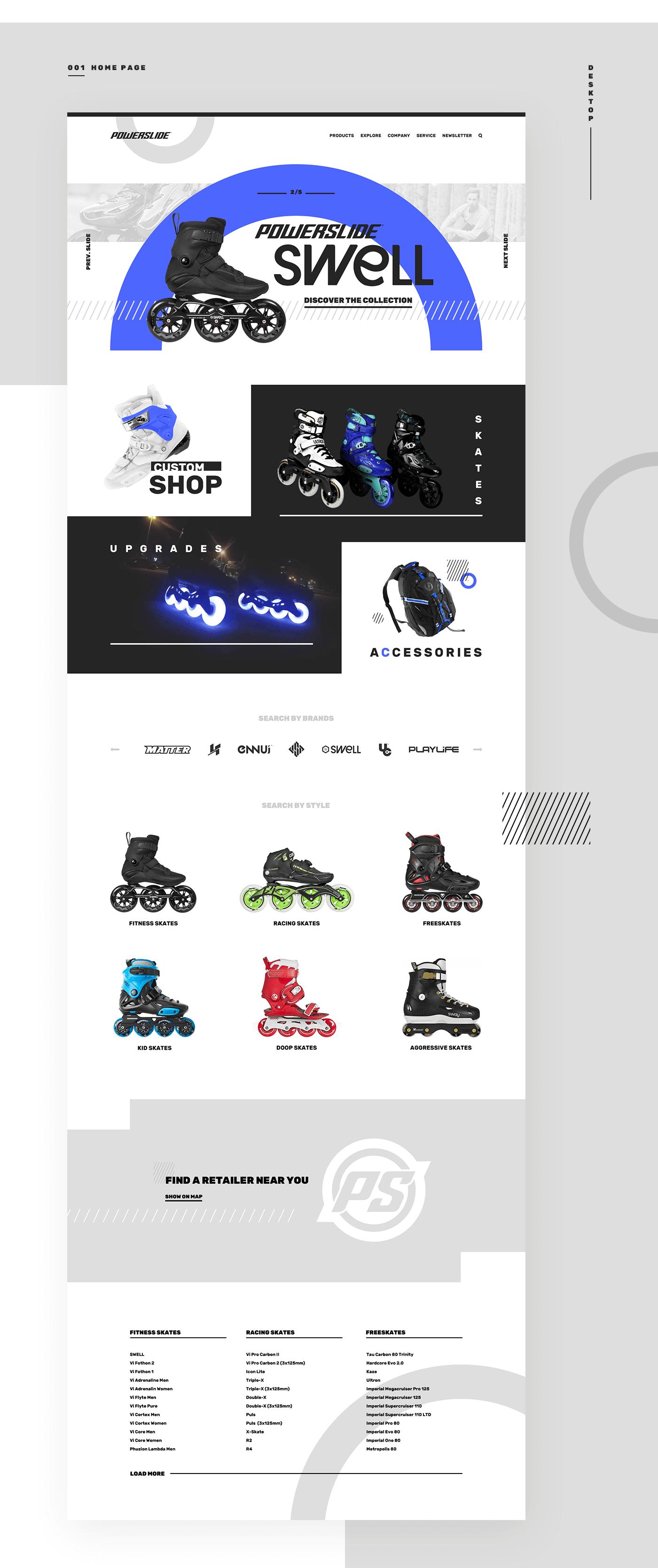 Finsweet website concept design rollerblade outdoor company