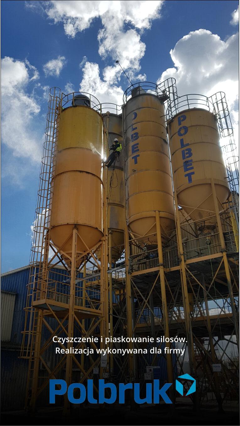 Czyszczenie i piaskowanie silosów dla firmy Polbet.