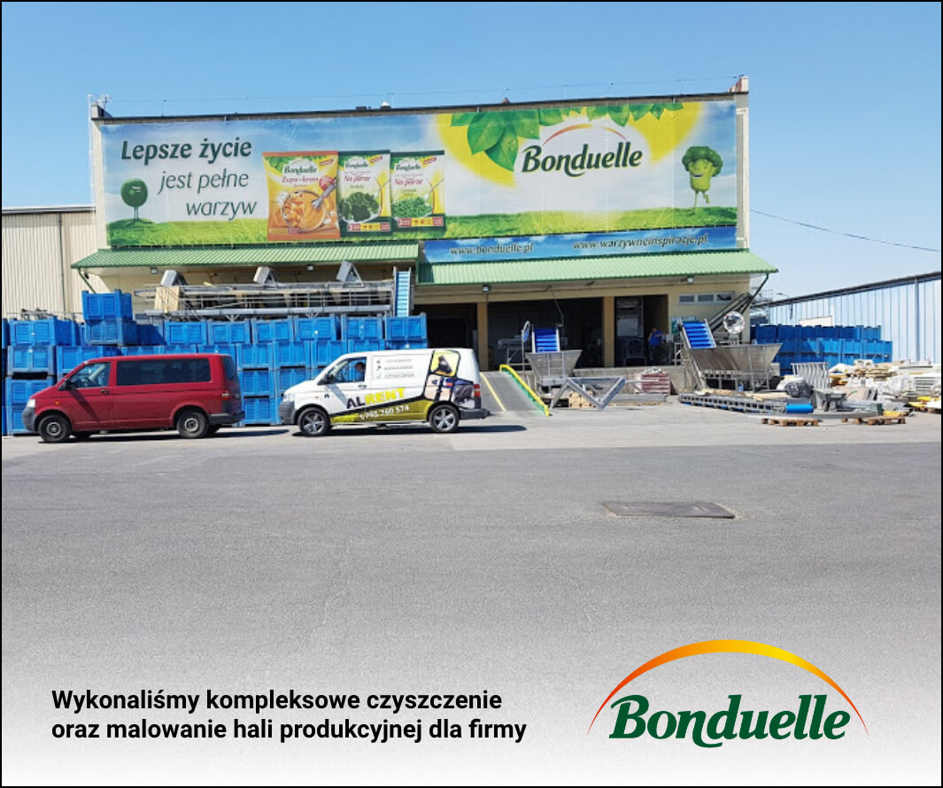 Wykonaliśmy kompleksowe czyszczenie oraz malowanie hali produkcyjnej dla firmy Bonduelle