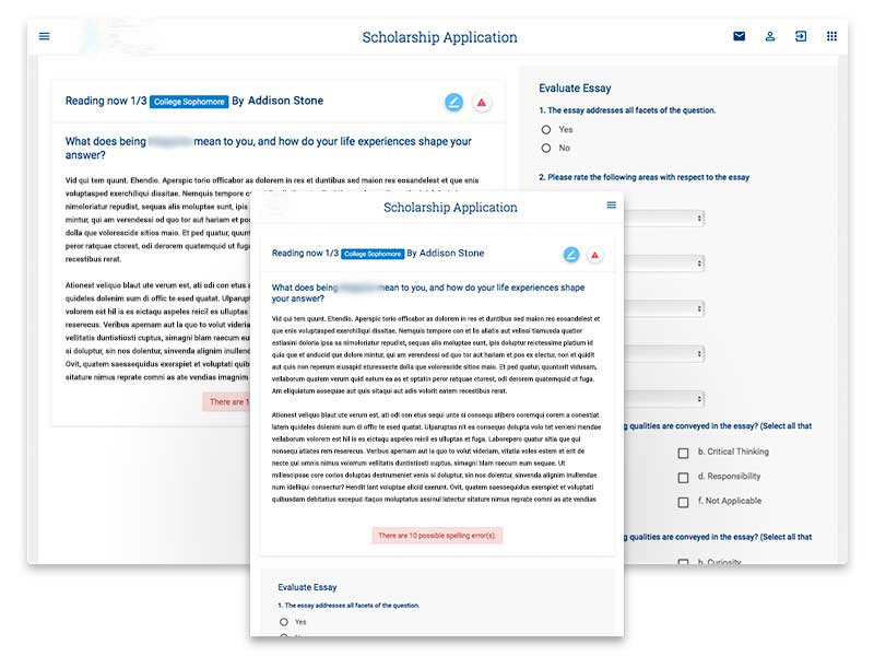 Grant & Scholarship Application dashboard