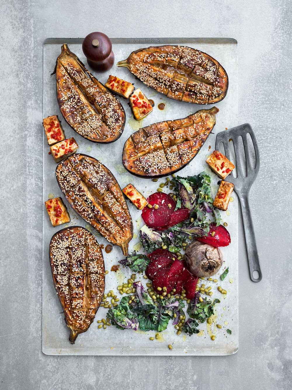 Misobakade auberginer
