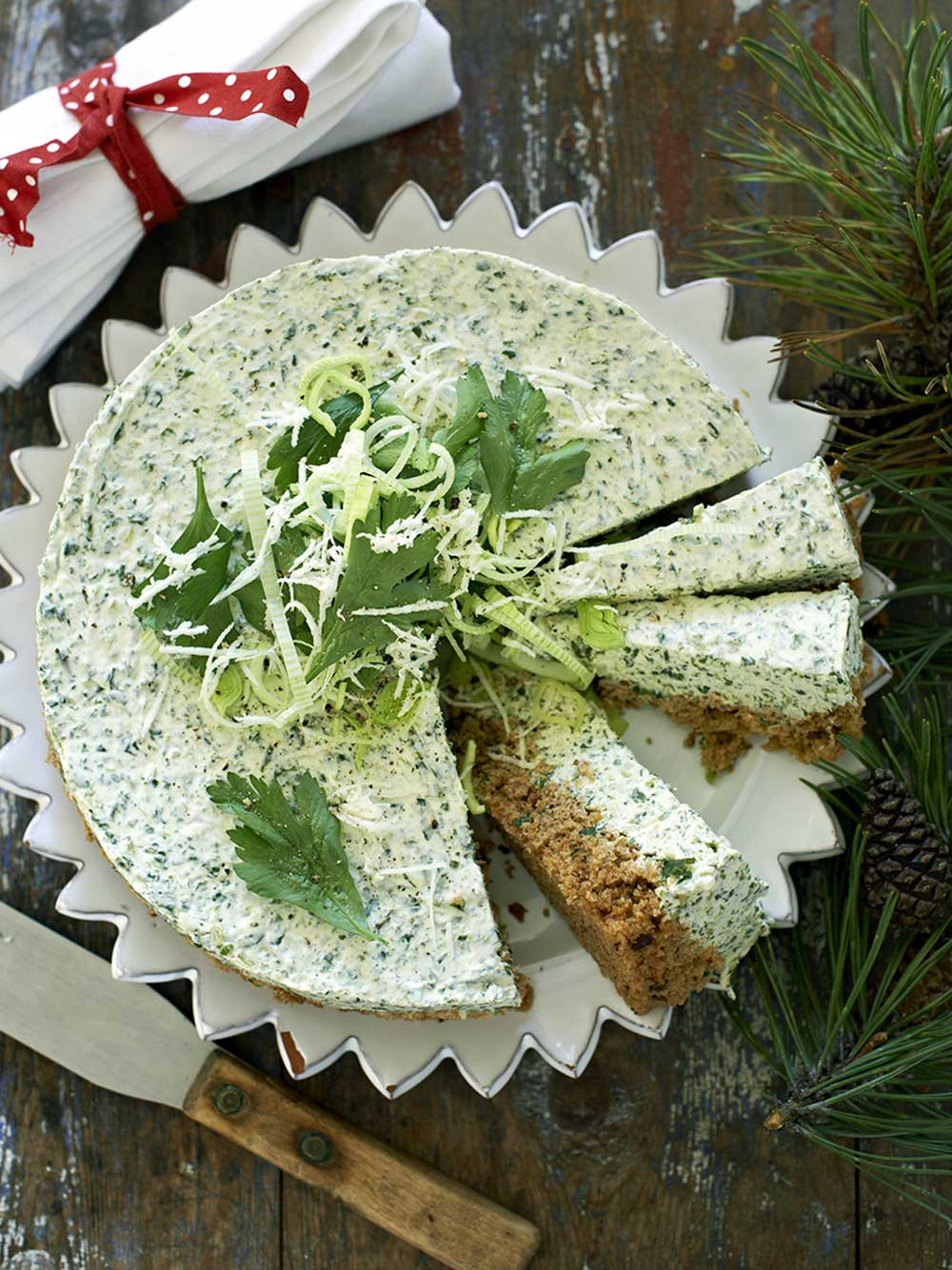 Grönkåls-cheesecake