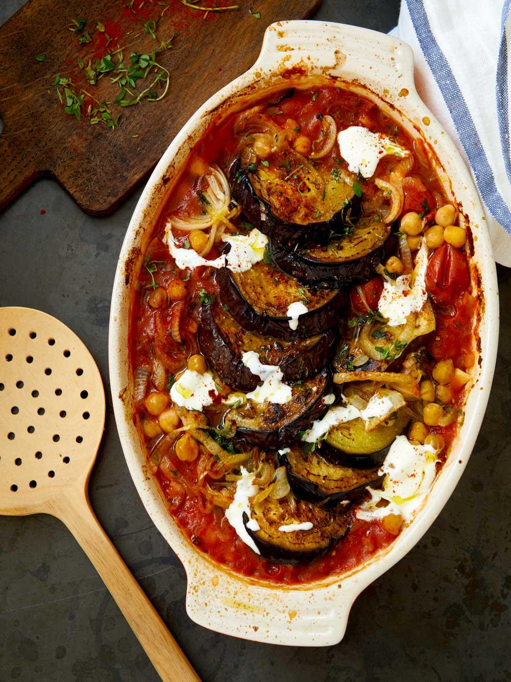Aubergine- och tomatgratäng