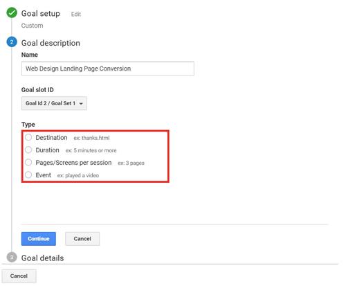 Custom Goal setup screenshot in Google Analytics