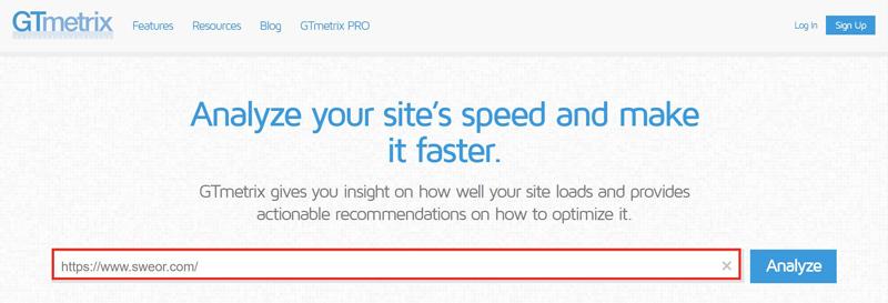 gtmetrix.com speed test screenshot