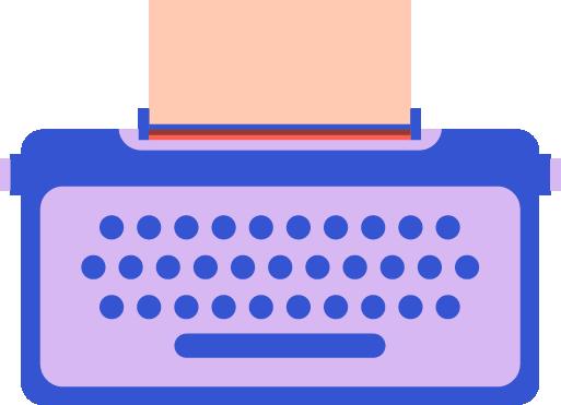 colorful illustrated typewriter