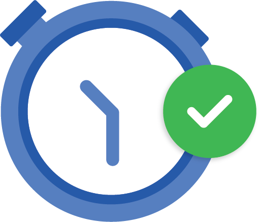 blue clock icon with checkmark