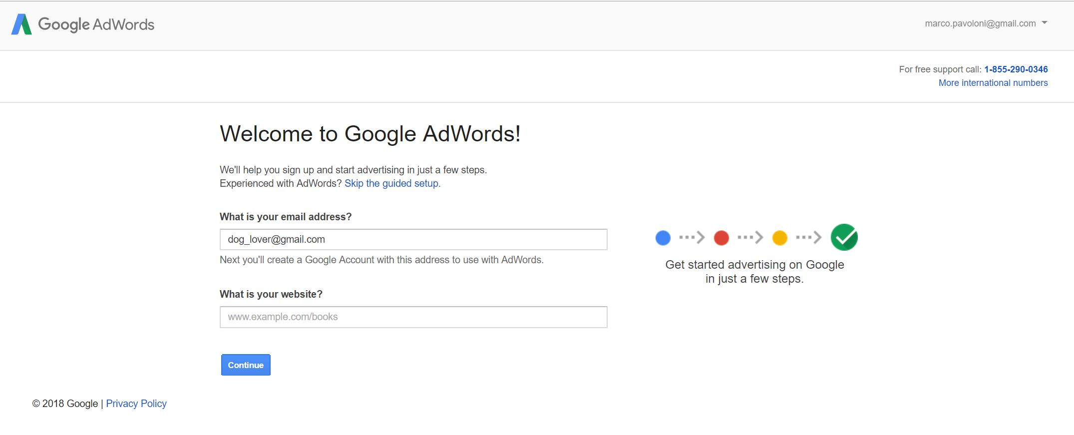 google adwords account setup