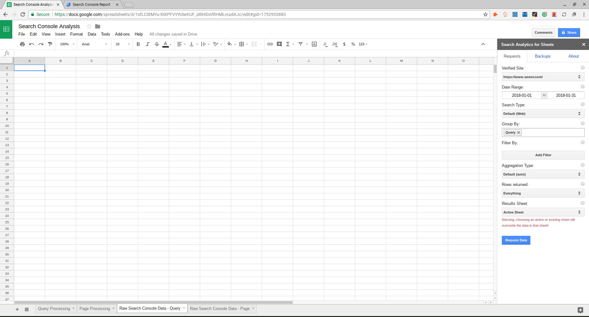 Search Console Data Google Sheets
