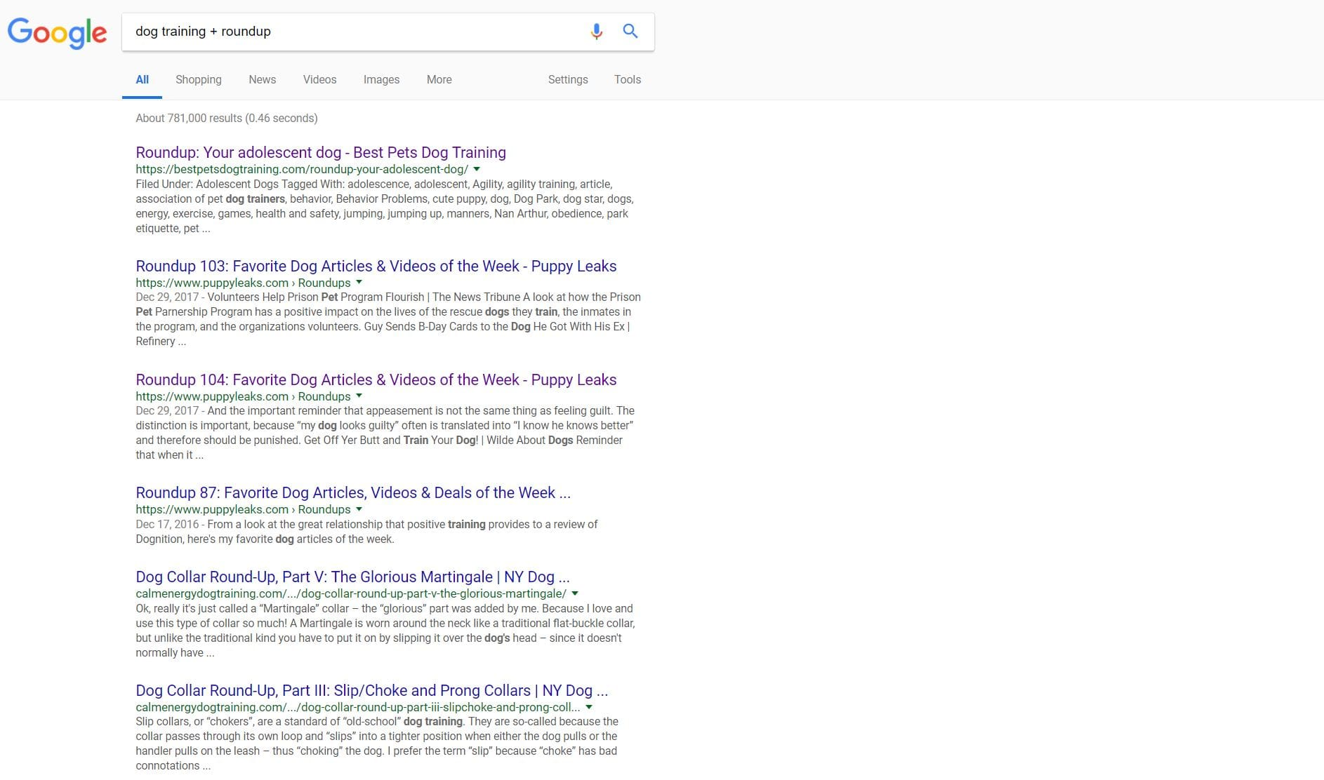 google search engine results page example