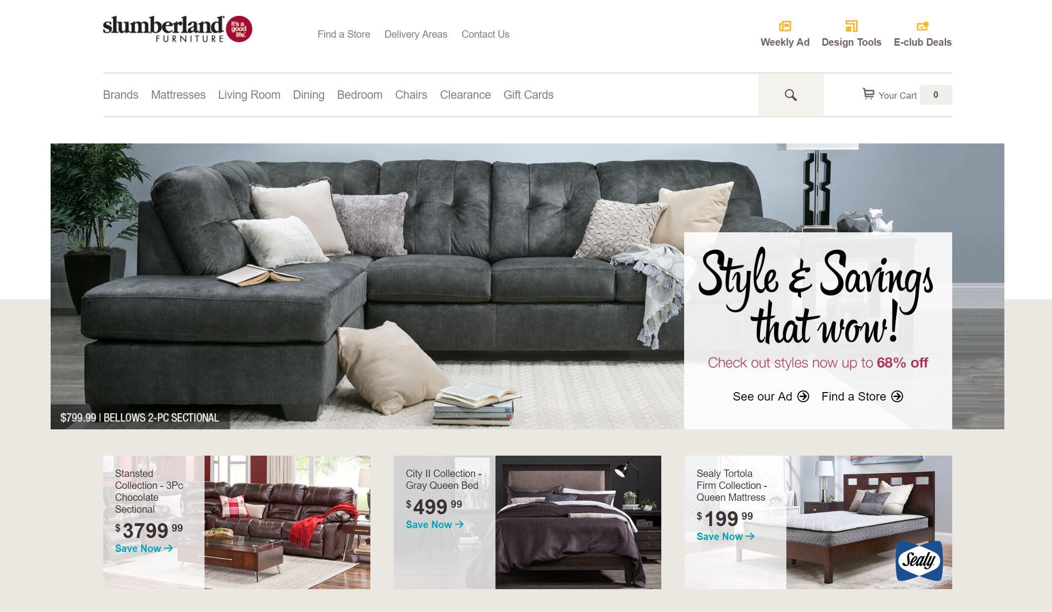screenshot of slumberland furniture homepage