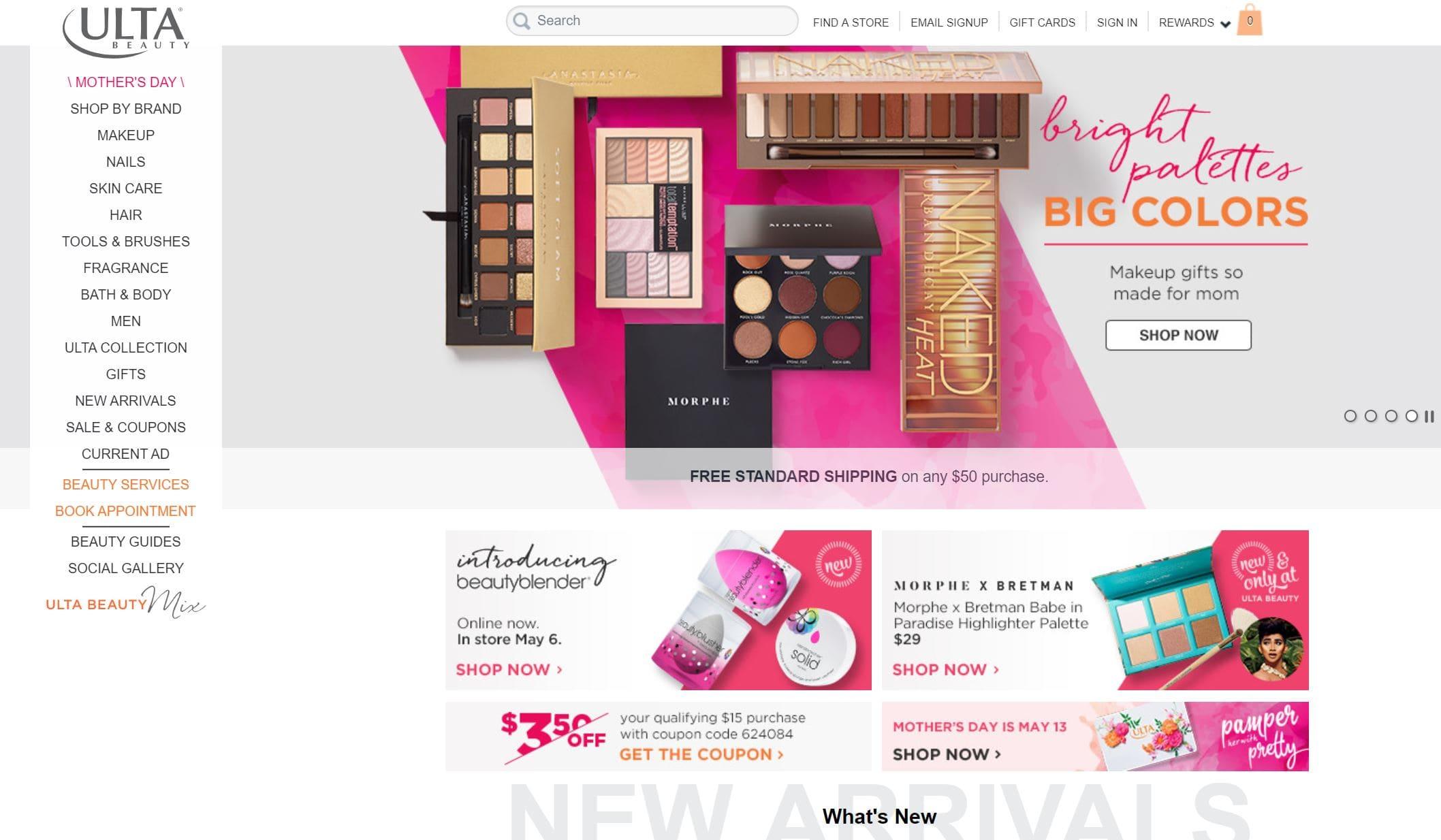 ulta beauty homepage screenshot