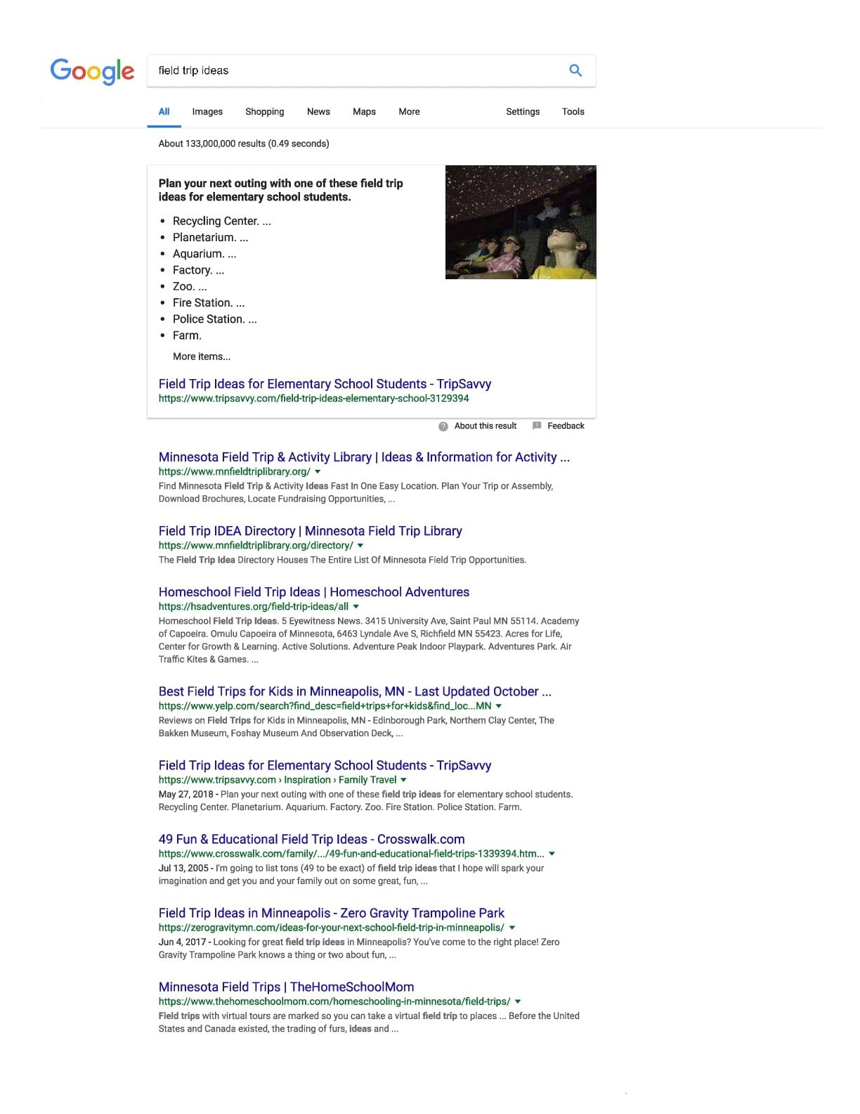 first page serp showing localization