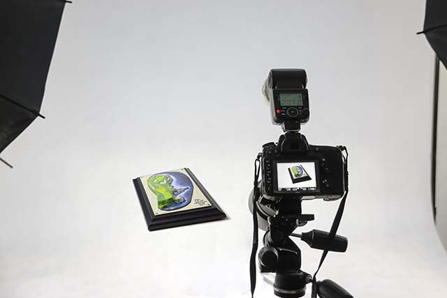 A camera is pointed at a small object on a white background, with lights visible in the corners of the scene.