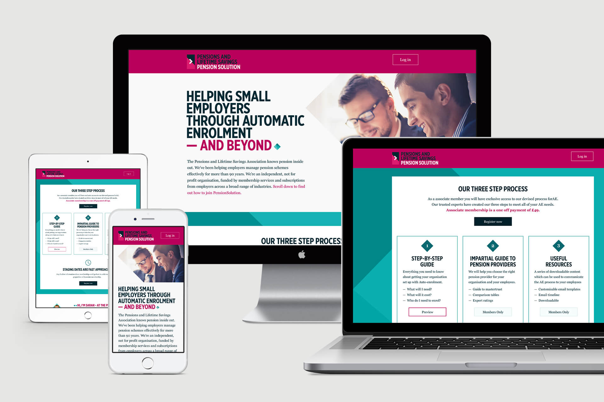 Pensions and Lifetime Savings Website Design on Mac Screen, MacBook, iPad and iPhone