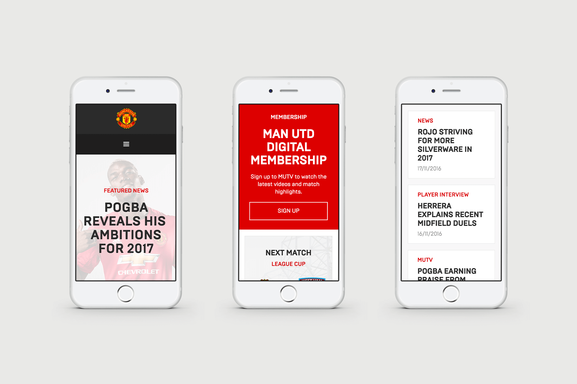 User Interface (UI) for Manchester United Website