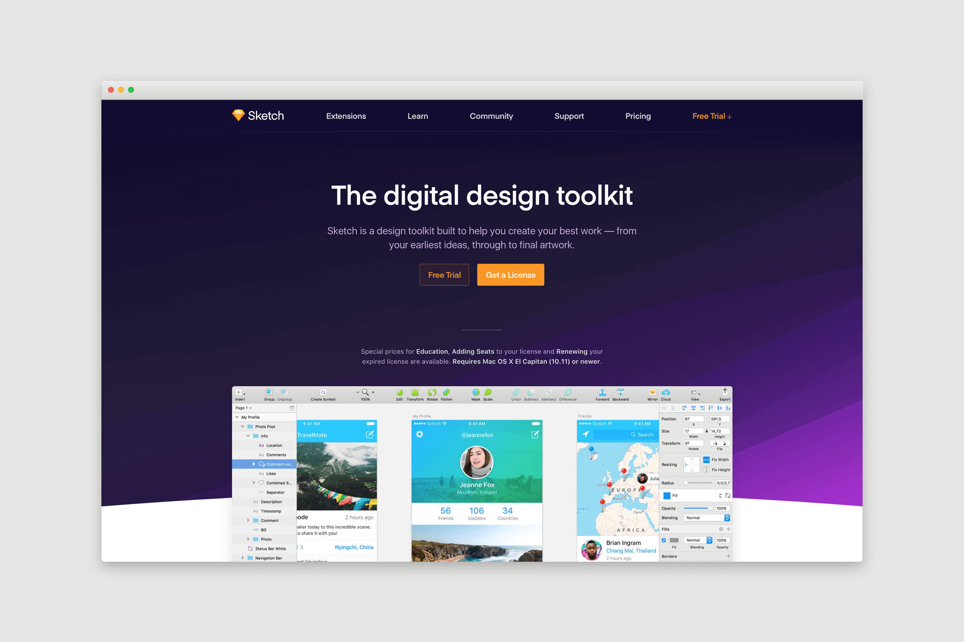 Sketch App Website Design
