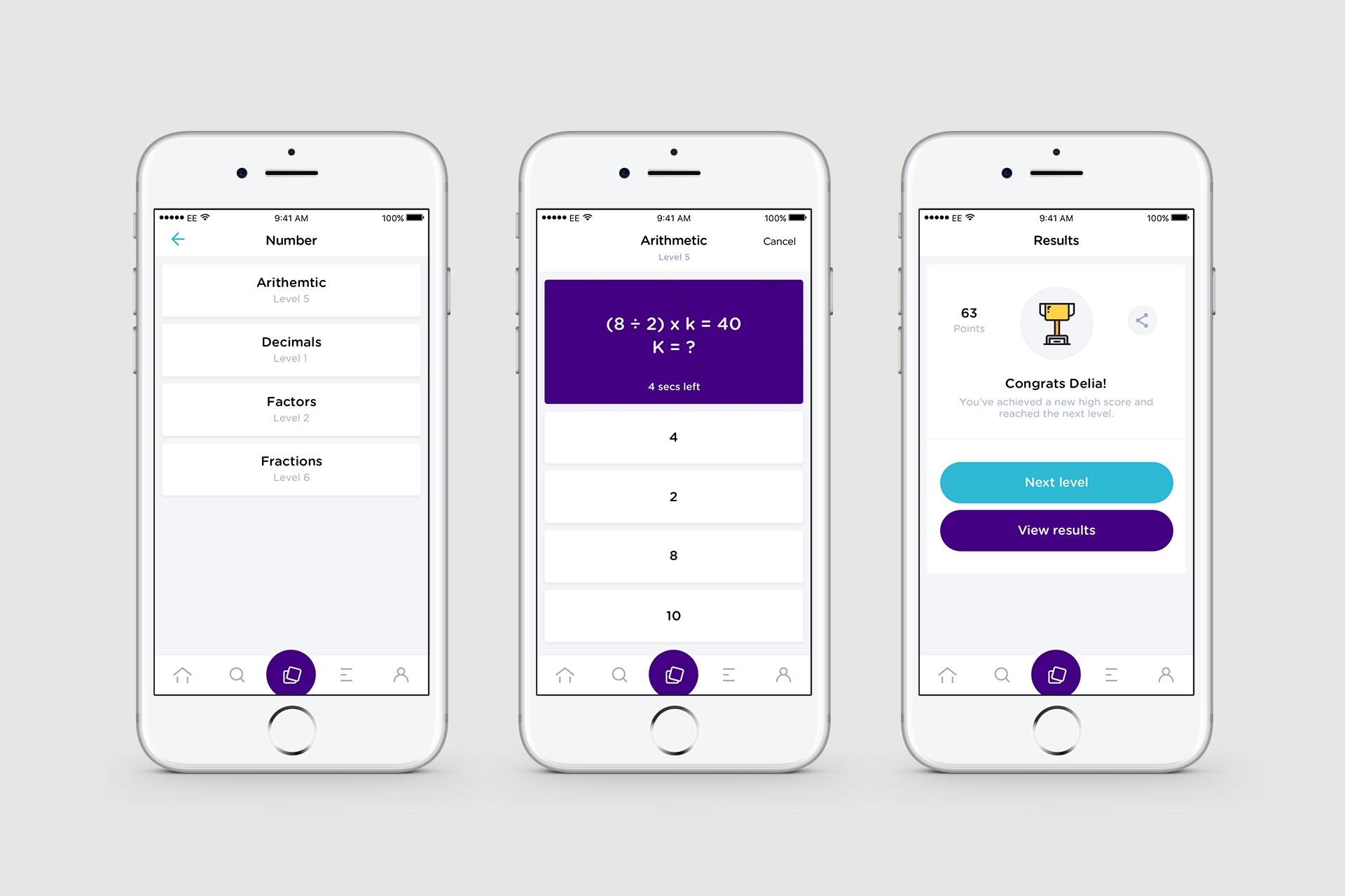 Mathclub Mobile User Interface Design