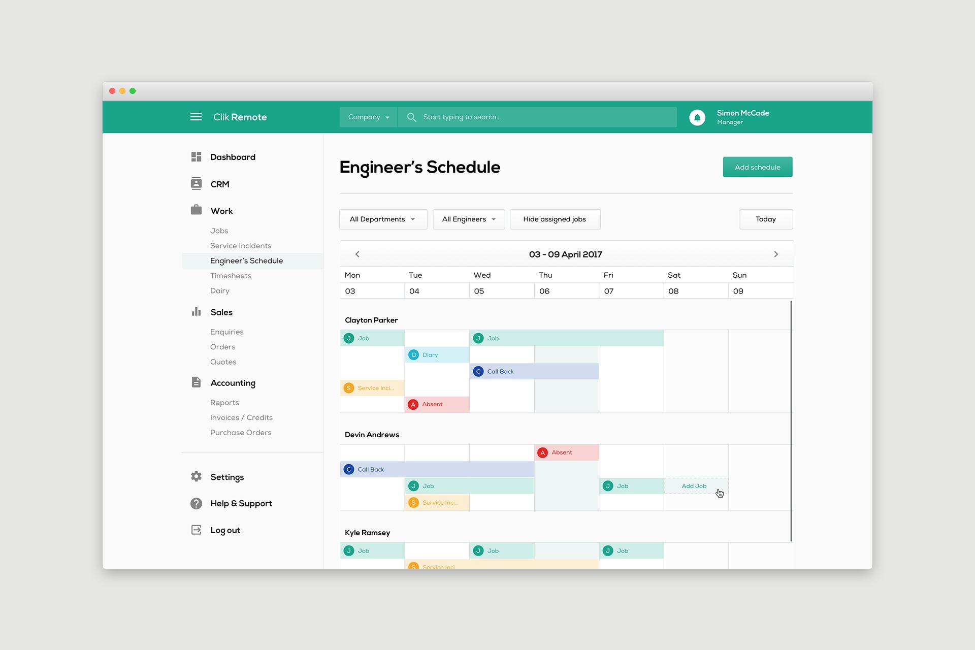 Engineer's Schedule User Interface (UI) Design