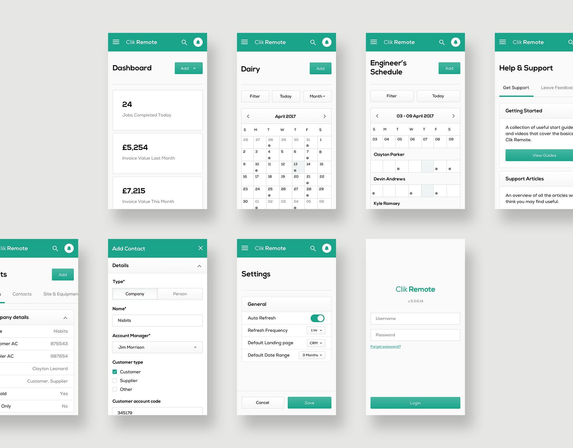 Clik Remote Mobile App User Interface (UI) Design