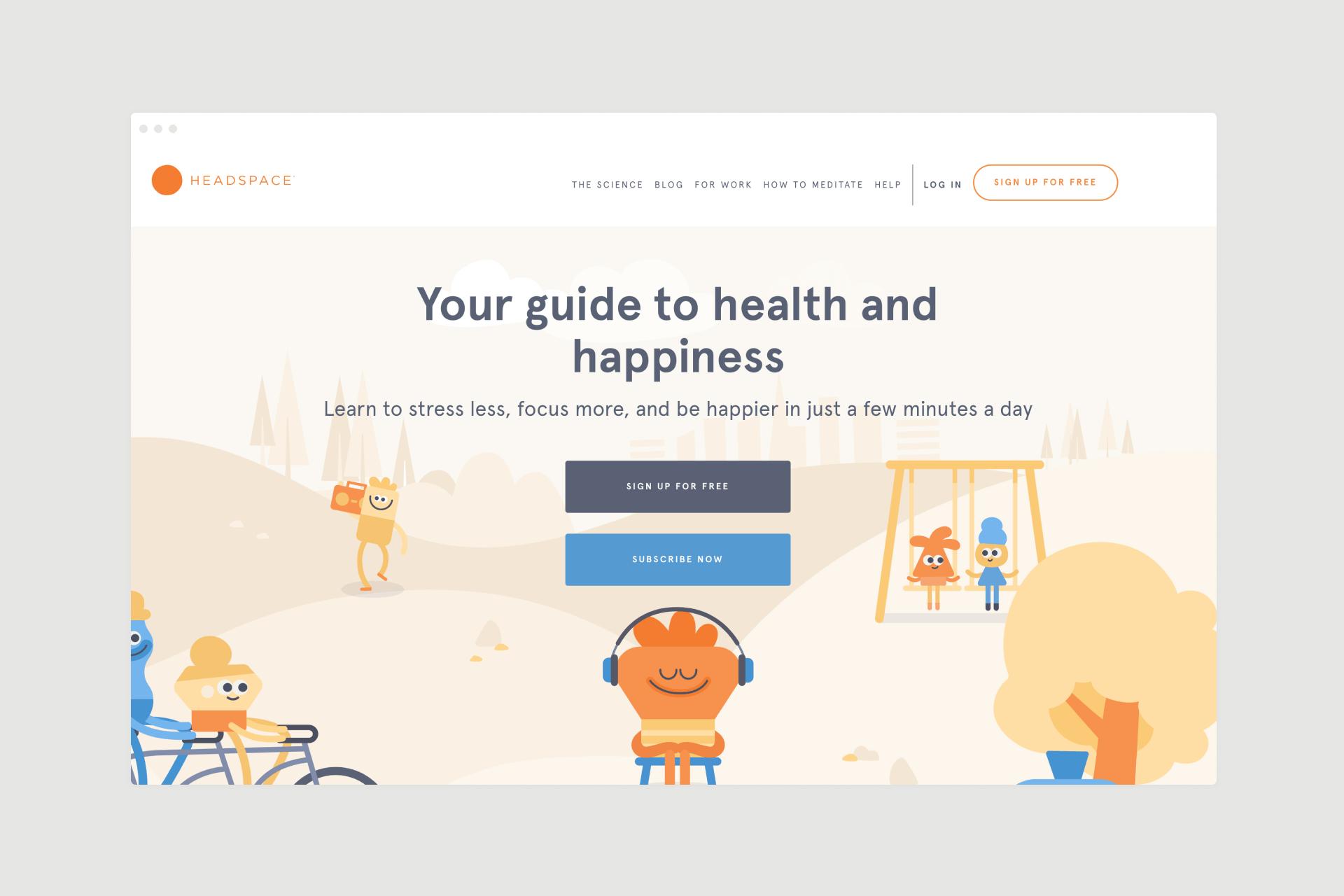 Headspace app landing page design