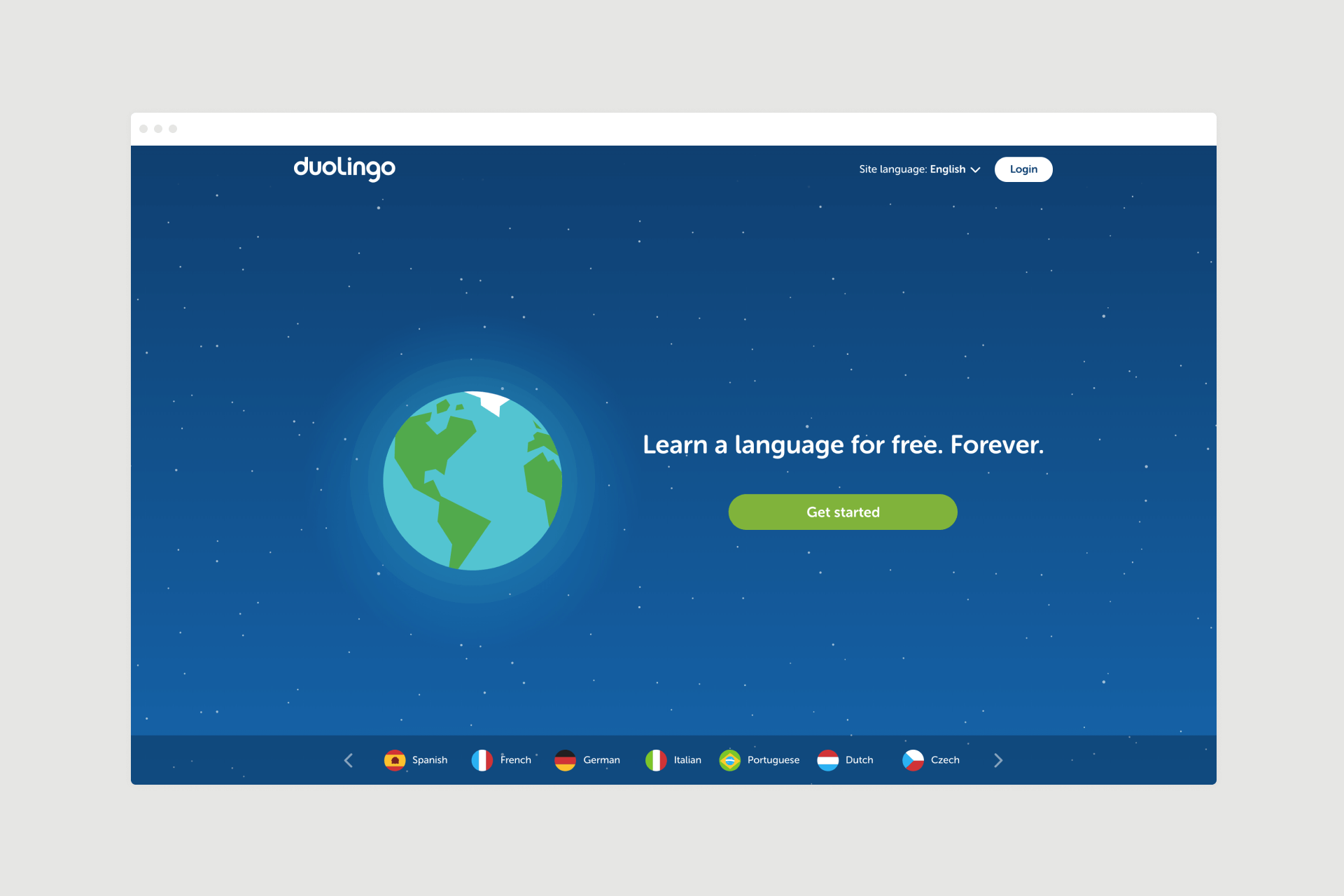 Duolingo landing page design