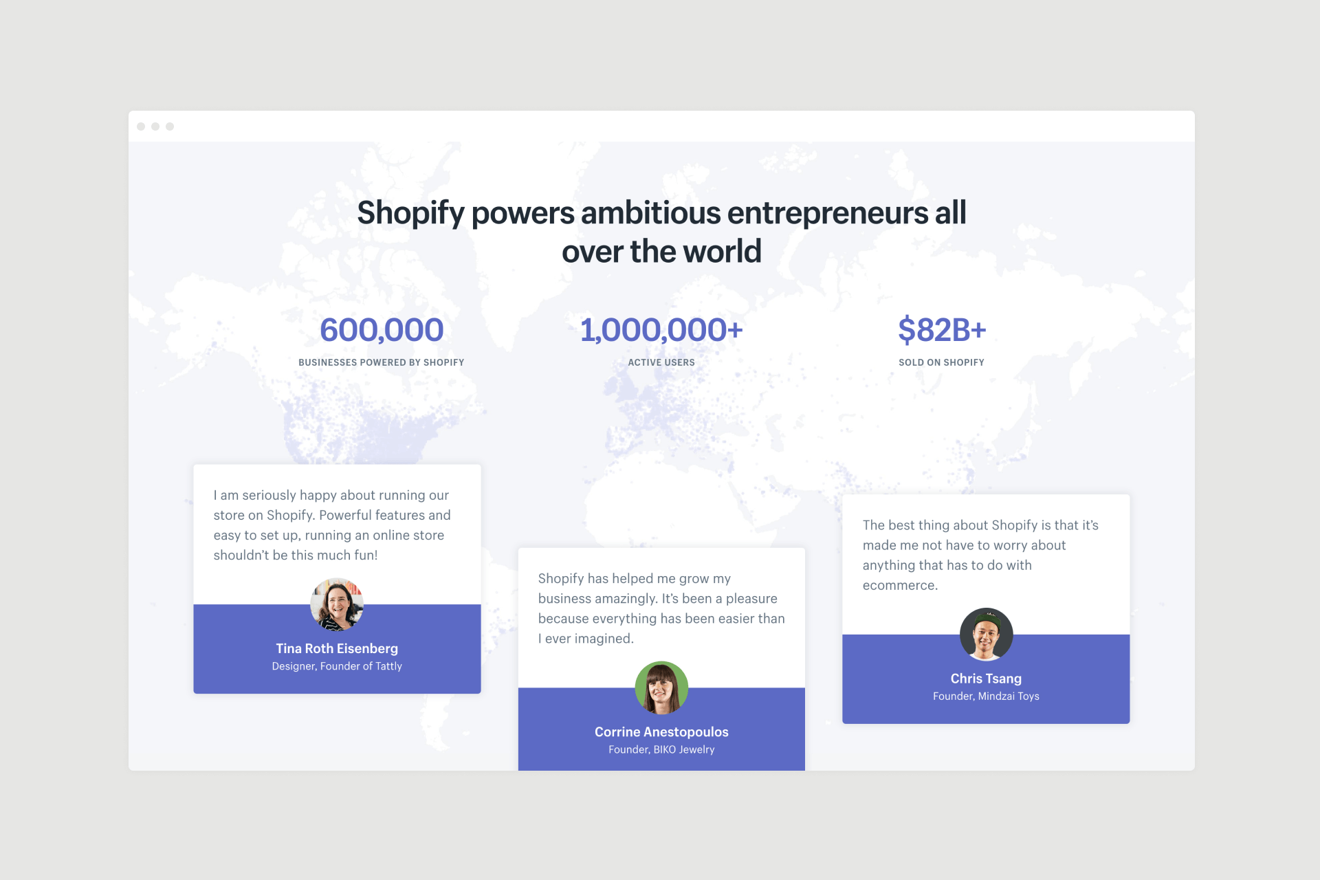Shopify landing page design - social proof
