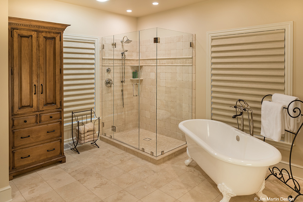 Photo of an old world style master bathroom remodel by Jim Martin Design