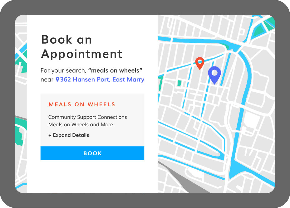 Book a meals on wheels appointment on tablet