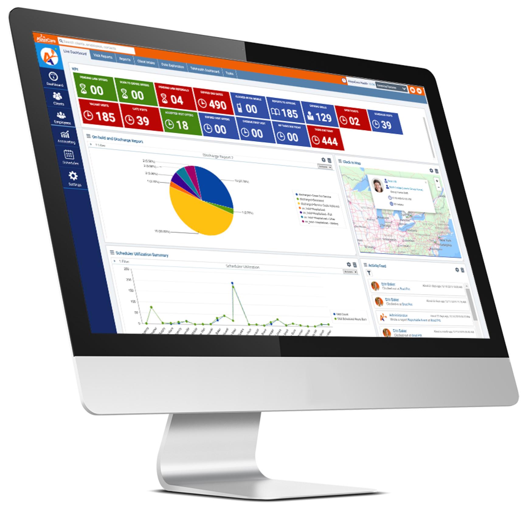 screenshot of AlayaCare platform