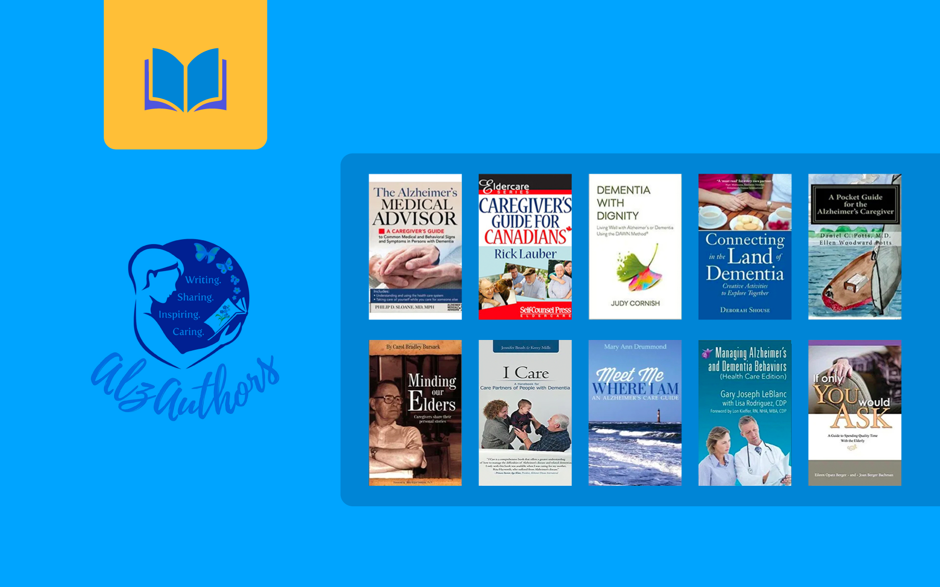 Image showing thumbnails of 10 books to support alzheimer's and dementia caregivers