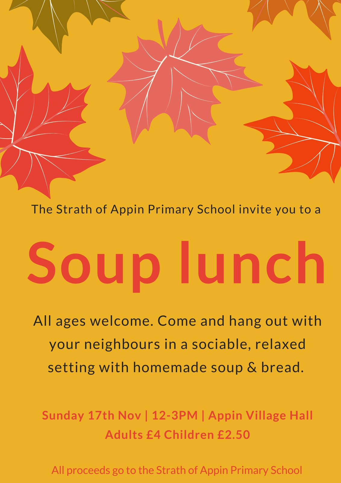 Soup lunch at Appin Village Hall