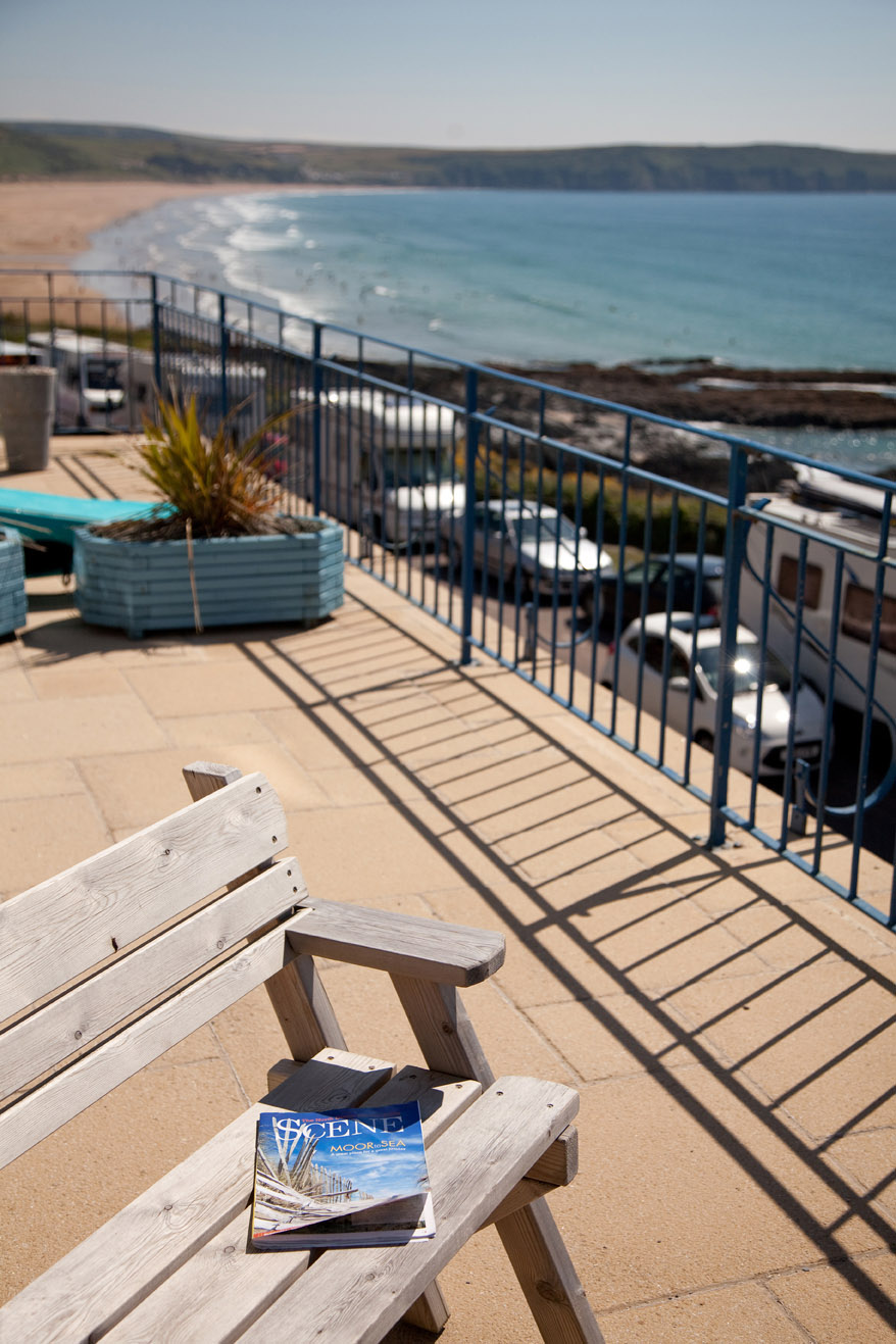 communal terrace view over woolacombe beach
