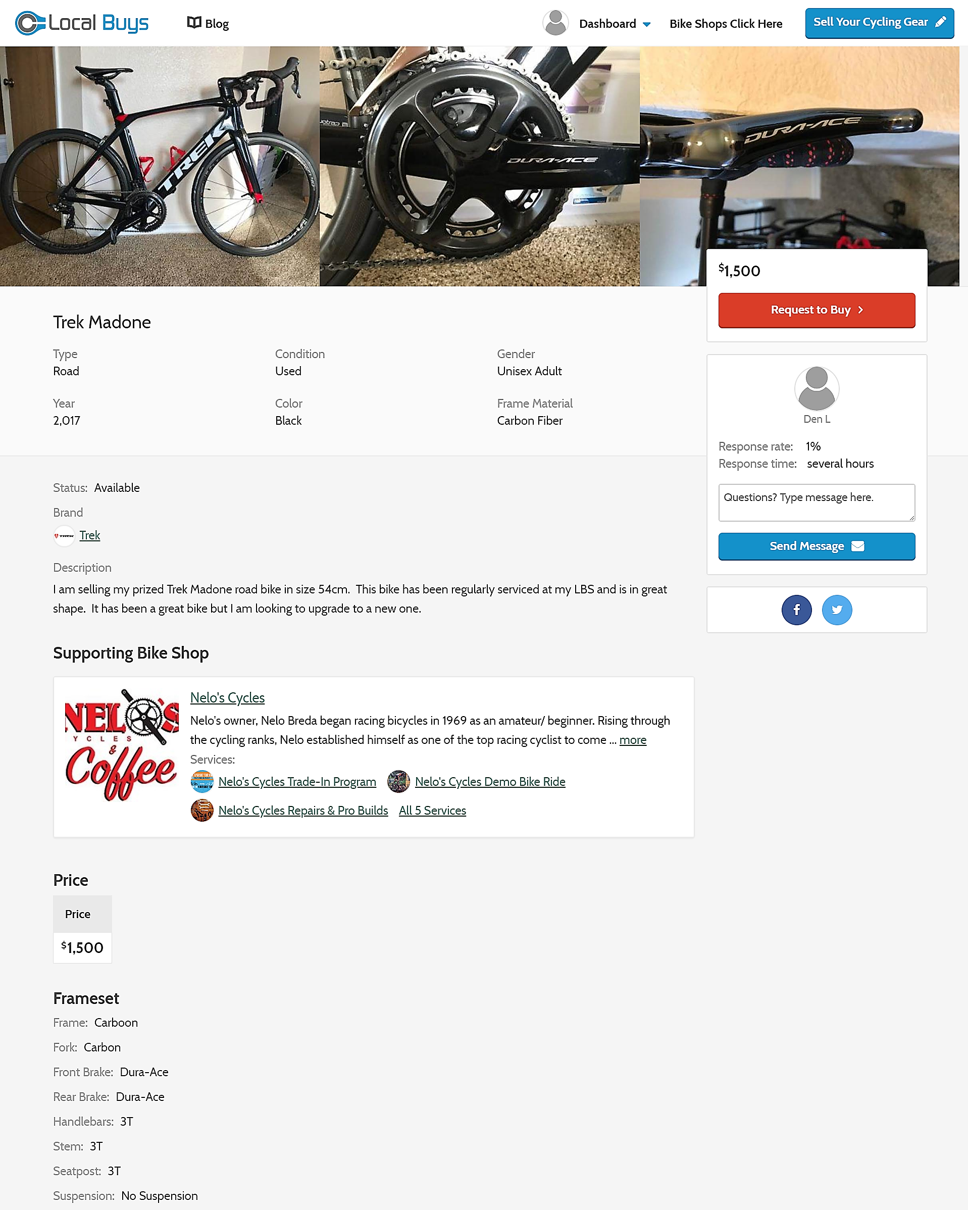 Product Page with Supporting Bicycle Shop