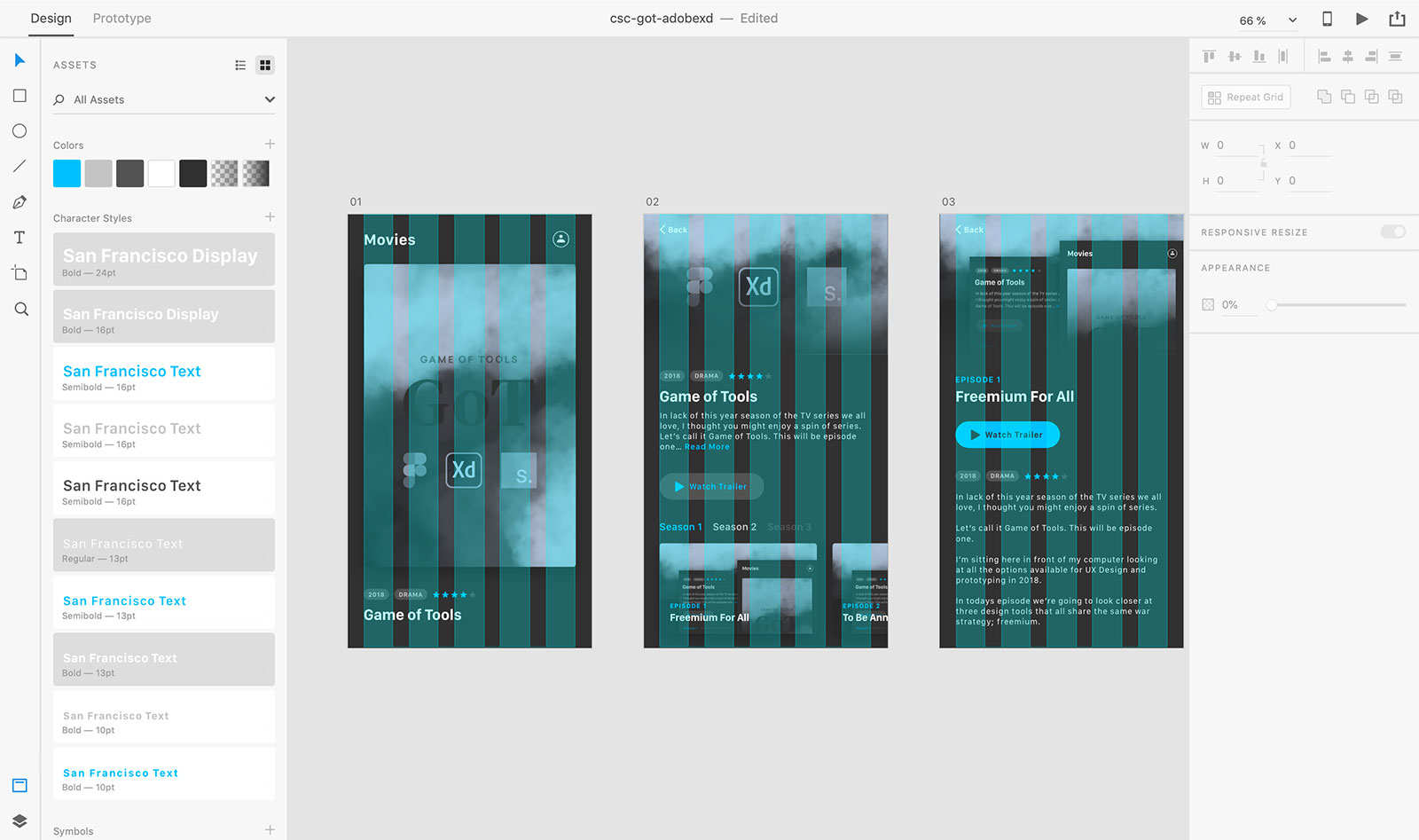 Adobe Xd sidebar
