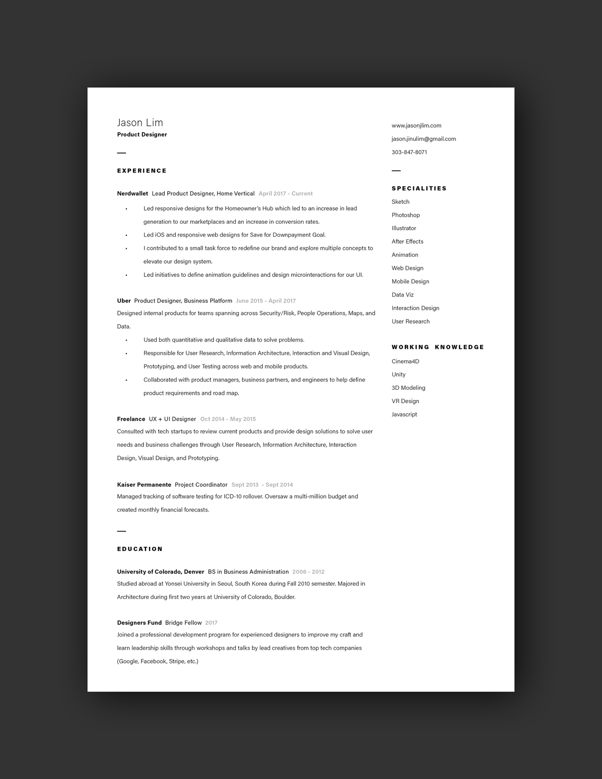Jason Lim Resume Example