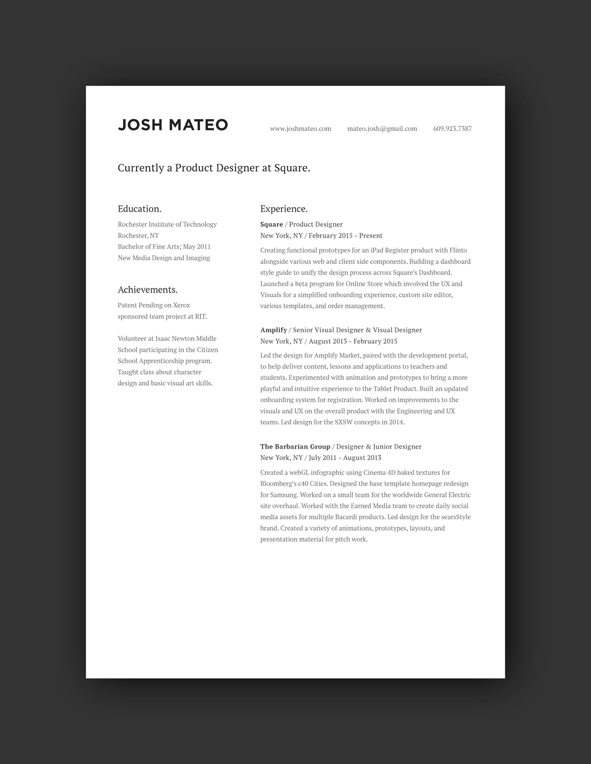 Josh Mateo Resume Example