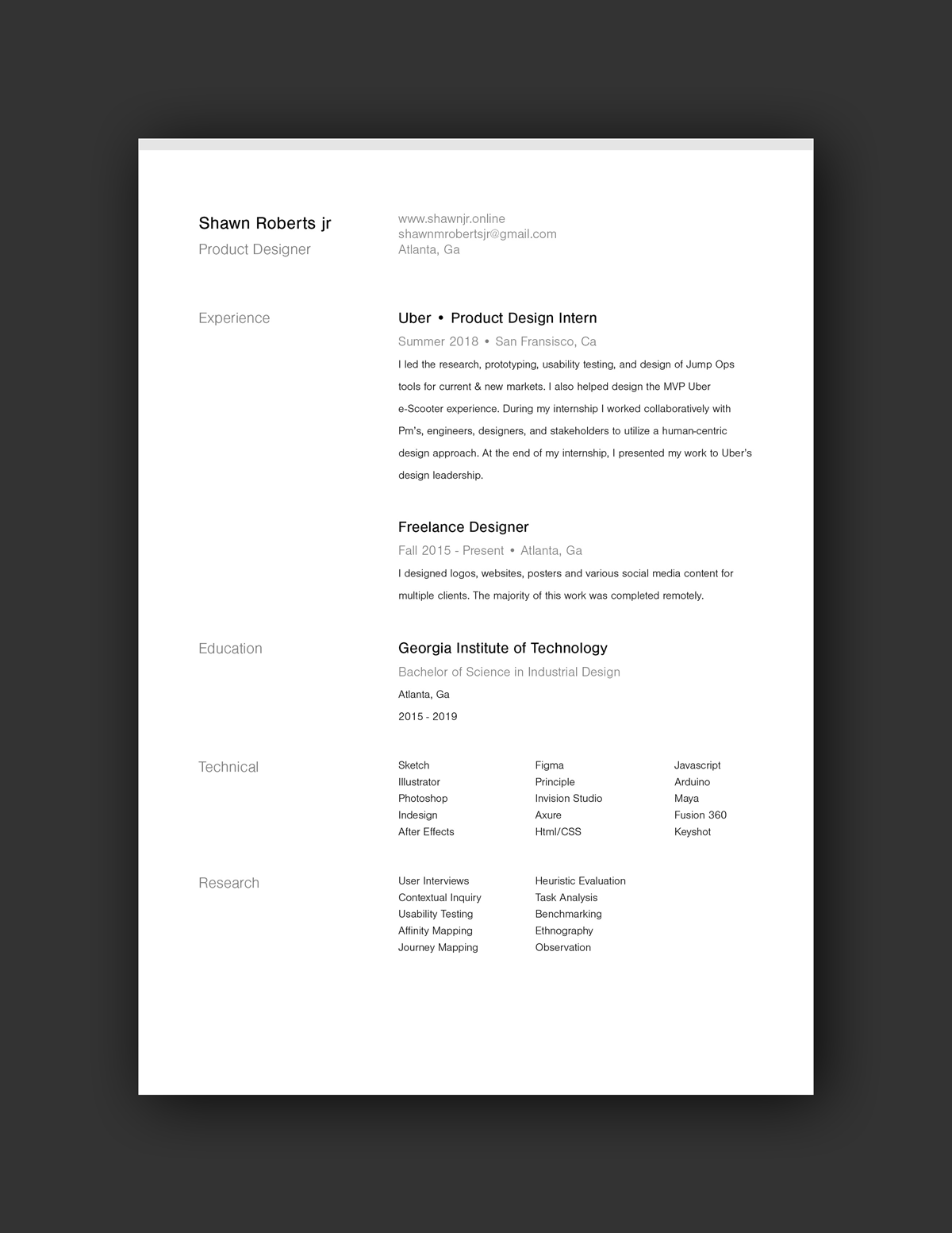 Shawn Roberts jr Resume Example