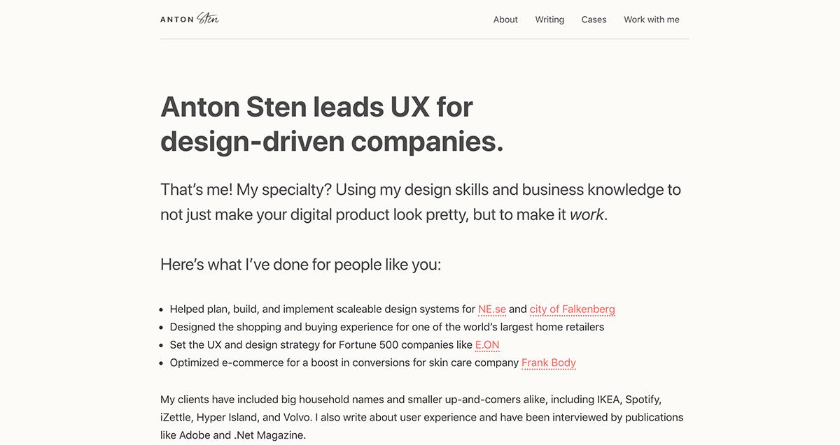 Anton Sten Portfolio Website