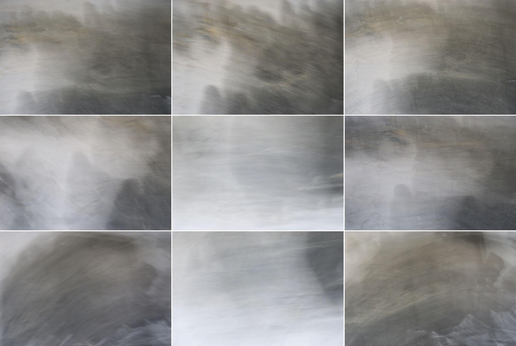 Foto van vage grijze vormen met wit in 9 hokjes