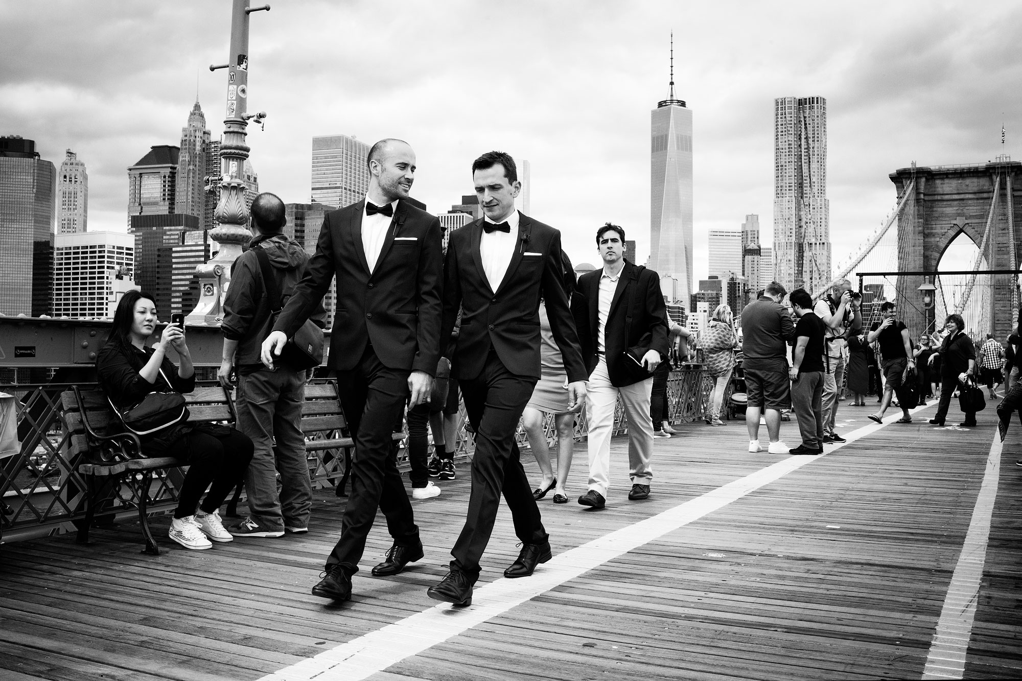 Tuxedo at the Brooklyn bridge